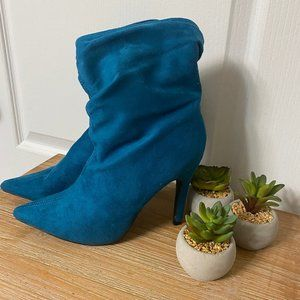Turquoise Slouchy Boots Sz 8